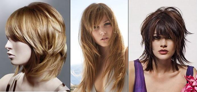 Градуированная стрижка на средние волосы с челкой фото
