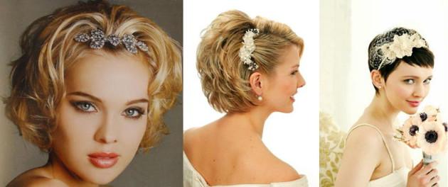 прическа на свадьбу на короткие волосы