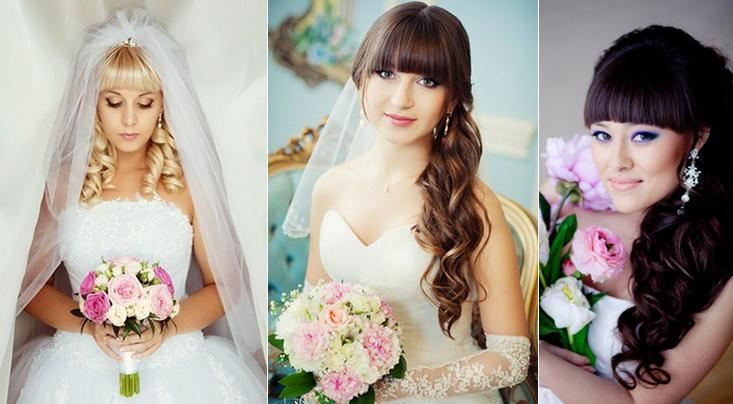 Прически свадебные для длинных волос с челкой фото 2016 фото для девушек