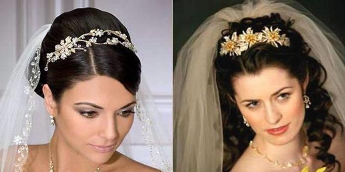 свадебные прически на темный волос с фатой и диадемой фото