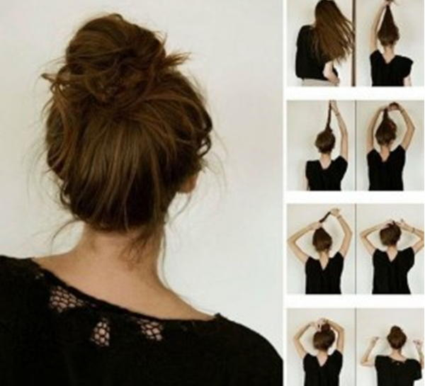 Как сделать неаккуратный пучок из средних волос