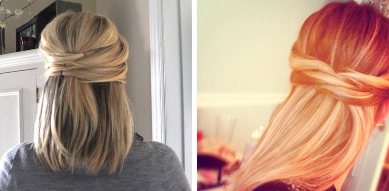 Простая прическа на волосы до плеч фото