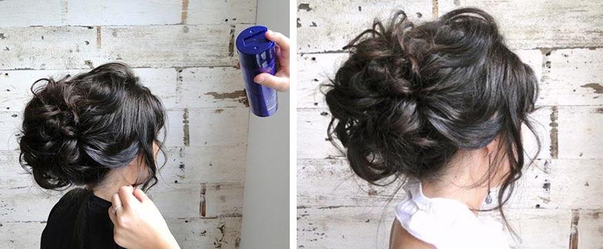 Прическа на средние волосы со шпильками