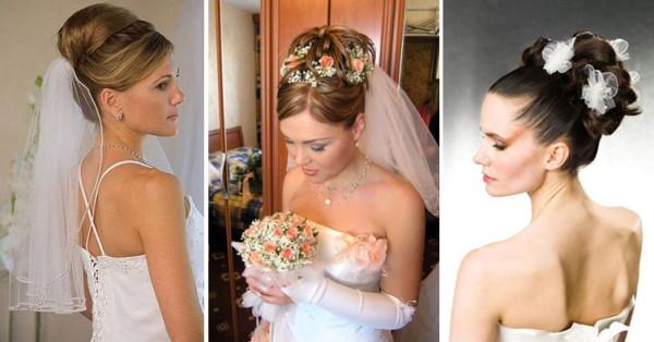 Высокие свадебные прически фото