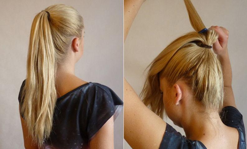 Прически на средние волосы на быструю руку 13