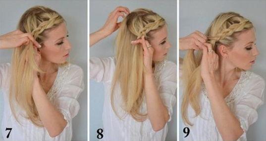 как заплести греческую косу - шаг 7-9