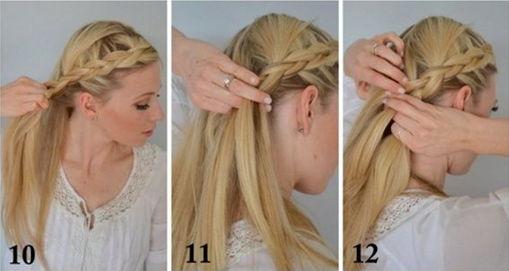 как заплести греческую косу - шаг 10-12