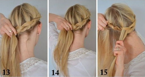 как заплести греческую косу - шаг 13-15