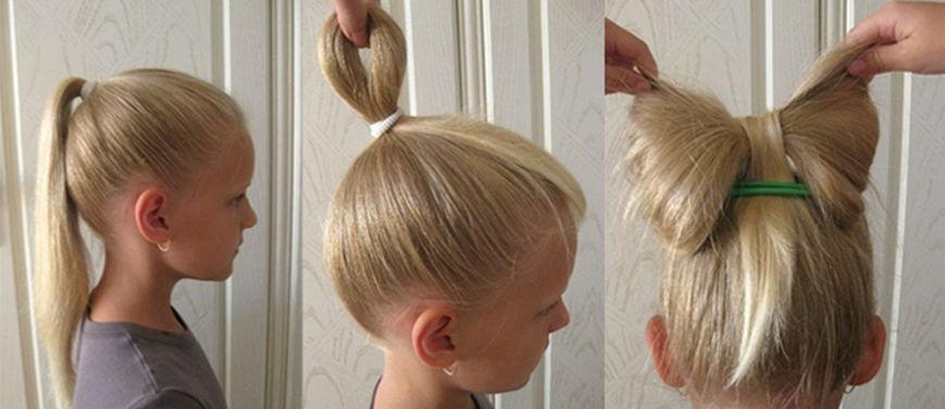 Прически для девочек на средние волосы бантик