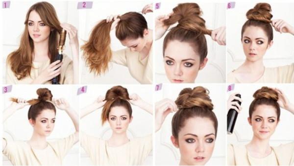 Объемный пучок на волосах средней длины