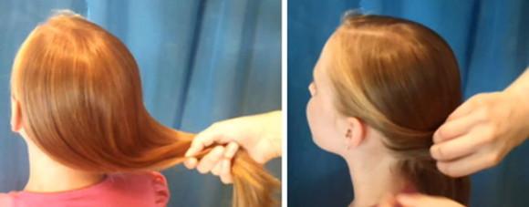 """расчесанные волосы зачесываем на ту сторону, на которой вы планируете плести """"рыбий хвост"""""""