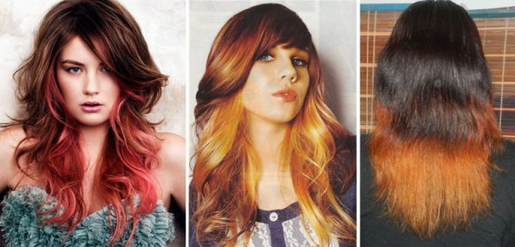 омбре на рыжих волосах фото