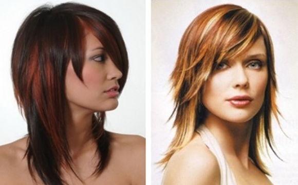 двойной каскад на средних волосах