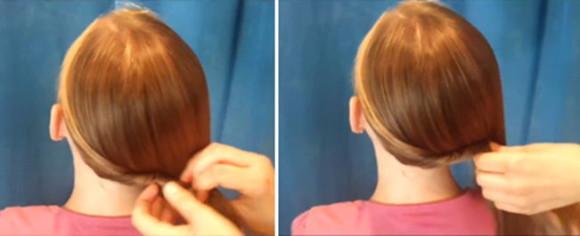 Подкручиваем волосы вдоль линии затылка