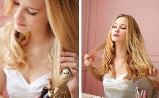 высушите волосы и завейте стайлером
