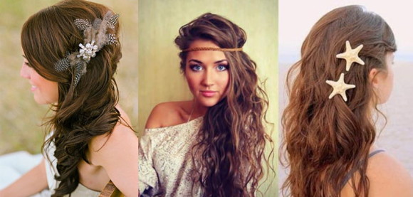 распущенные накрученные волосы с декоративными элементами