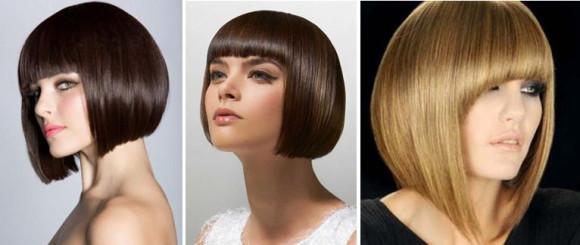 Вариант на средние волосы с челкой