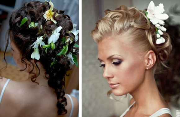 свадебные прически с цветами и накладными прядями