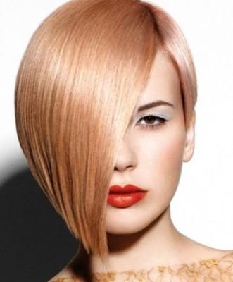 ассиметричная стрижка на средних волосах