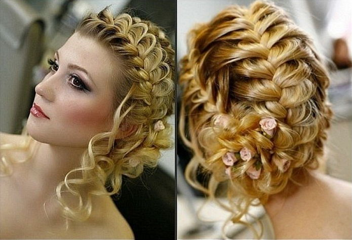 Прическа с элементами плетения на средние волосы