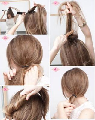 пучок на длинные волосы - вариант 3