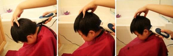 Стрижка волос полосами с фронтально-теменной зоны