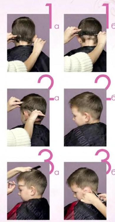 Классическая короткая стрижка для мальчика: первые 3 этапа