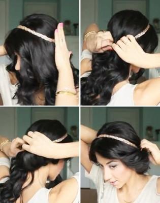 Процесс создания укладки с повязкой на голову