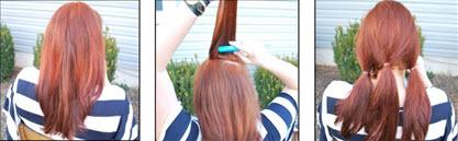 Разделенные на три части и собранные в хвосты волосы