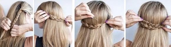 Создание обрамления распущенных волос с помощью косичек