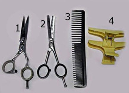 Инструменты, необходимые для подстригания челки