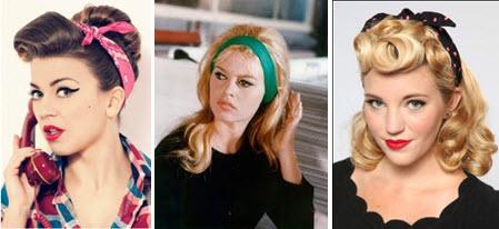 Прически с повязкой в стиле 50-х годов