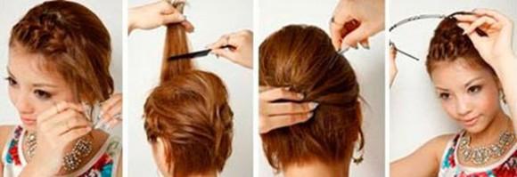 Способ убрать челку с помощью французской косы, начеса на макушке и обруча