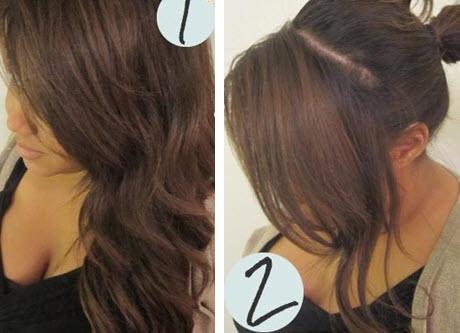 Отделение волос для создания косички