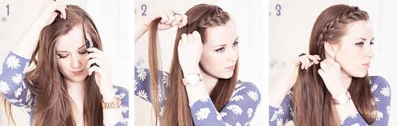 Процесс плетения косы из челки