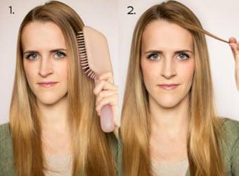 Расчесываине волос и выделение прядки