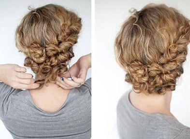 Красивая укладка для волос средней длины в завершенном виде