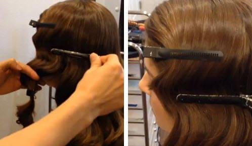 Волосы, зафиксированные большими зажимами