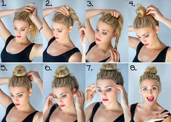 Процесс создания пучка на средние волосы