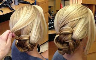 Скрученная в петельки и зафиксированная передняя часть волос