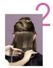 Отступите немного вверх и при помощи горизонтального пробора отделить нужное количество волос