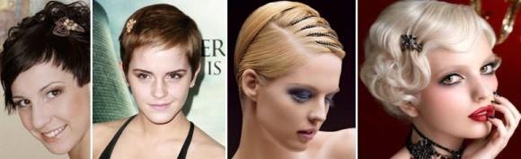 Прически на короткие волосы с разными аксессуарами