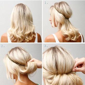 Создание прически в греческом стиле на средние волосы