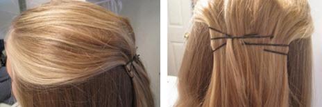 Волосы собираются в верхней части головы и фиксируются невидимками