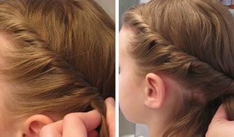 Новые прядки добавляются в жгут из общей массы волос