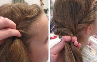 Волосы скручиваются в жгут с другой стороны
