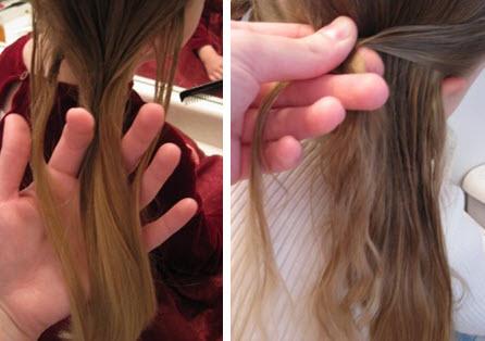 Все волосы разделяются косым пробором на две половины