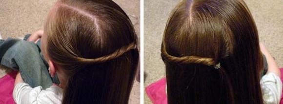 Волосы разделяются на проборы, слева скручивается жгут волос и переносится на противоположную сторону