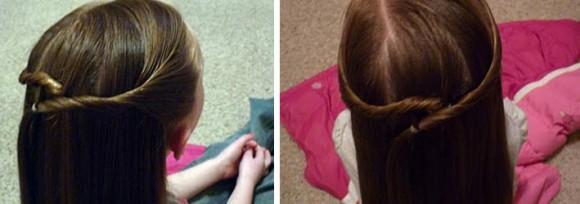 Справа скручивается жгут волос и переносится на противоположную левую сторону