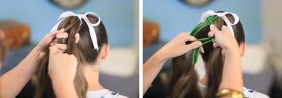 Тонкая прядка с правой части волос перекидывается влево, а такая же прядка слева перекидывается на право
